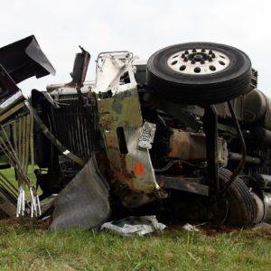 Big truck crashed in field