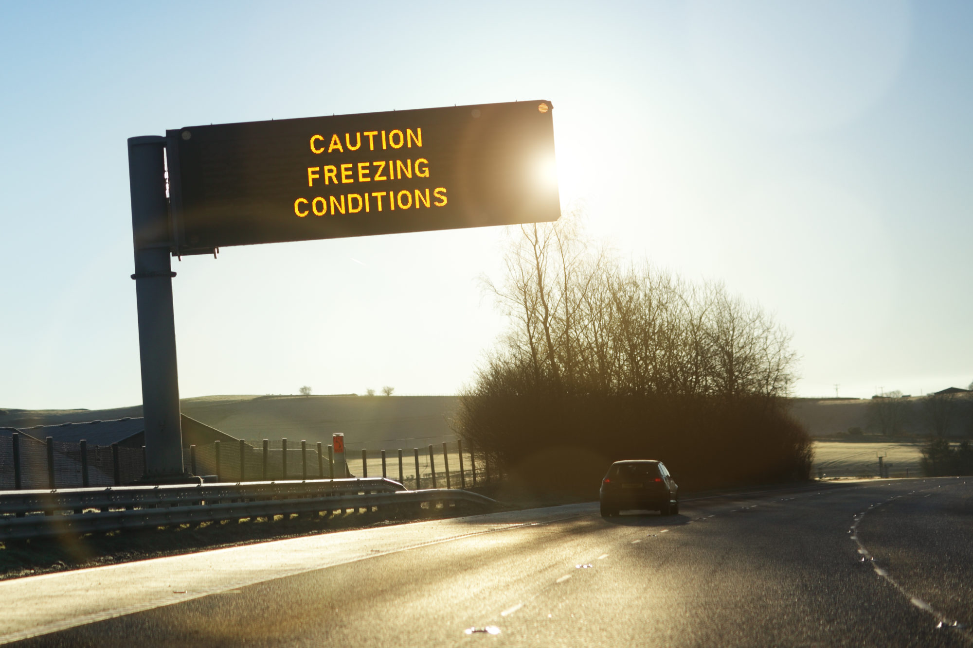 road sign warning of winter weather conditions in Wilmington, NC